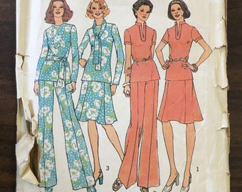 Vintage 1970s Top, Skirt, Wide-Leg Pants and Scarf Pattern // Simplicity 6852, size 12