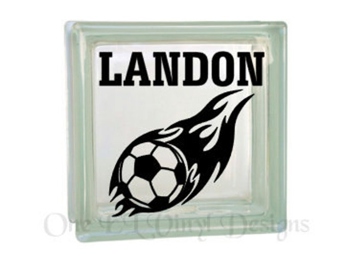 Soccer Ball Flame with Name - Personalized Vinyl Decal for a DIY Glass Block, Frames, and more...Block Not Included