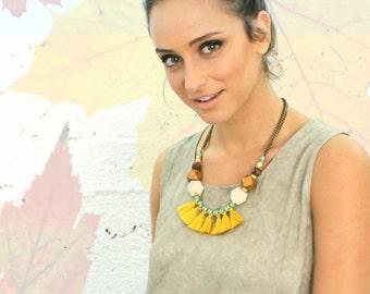 Yellow fringe necklace, geometric wood beads, turquoise gold necklace, yellow tassels necklace, mustard necklace, tribal wood necklace.
