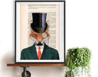 Victorian Fox Print, Fox Art, Fox Art Print, Red Fox, Fox Wall Art, Fox Wall Decor, Animal Print, Wall Hanging, Men, Hat, Steampunk Fox