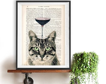 Fantasy Cat Print Print Nursery Kid Room Art Print Animal Painting poster dictionary recycled book print Birthday Gift For Him Her
