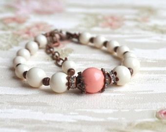 Rustic Coral Pearl Bridesmaid Bracelet Bridesmaid Gift Bracelet Swarovski Pearl Bracelet Pink Coral Jewelry, Flower Girl Beach Wedding Party