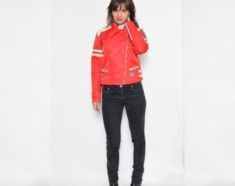 Vintage 90's Racer's Red Jacket / Color Block  Red And White Zipper Jacket - Size Small
