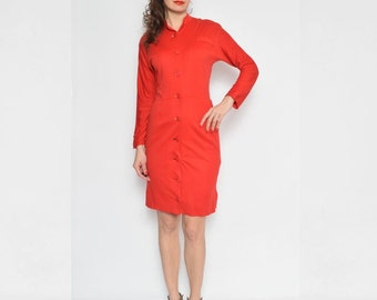 Vintage 80's Red Buttoned Long Sleeve Midi Dress