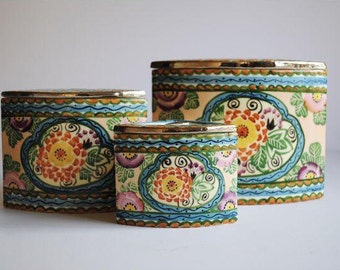 25% OFF SALE - Vintage Handprinted Ceramic Canisters, s/3
