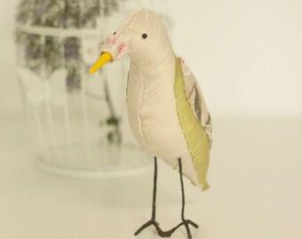 Pink and Green Textile Fabric Bird Soft Sculpture