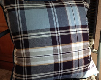 Blue Plaid Pillow Cover 20 x 20 inch Pillow Cover Blue Brown Plaid Pillow Cover Blue Brown Pillow Cover Fall Pillow Cover Autumn Pillow