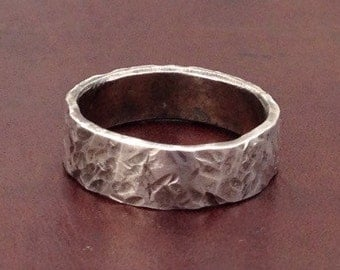 Hammered Distressed Sterling Silver .925 Ring -hand crafted-