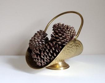 Vintage Brass Basket, Made in Holland, Marked FTDA Nijhof-Zevenaar, Rustic Hammered Design, Hinged Articulting Handle, Metal Display Basket
