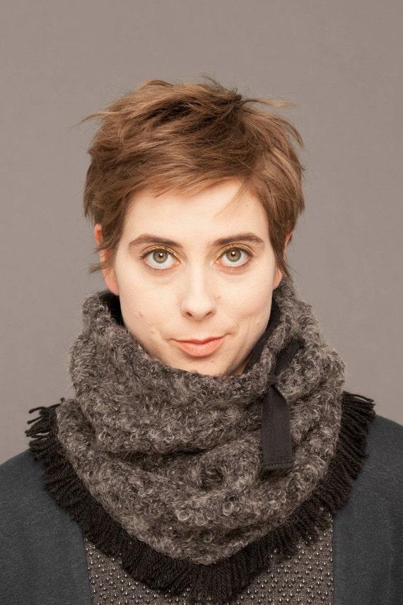 MYSKI - plain neckwarmer for winter, scarf lined in polar for womens - Grey