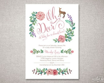 Oh Deer Baby Shower Invitation - Boy or Girl - Woodland Floral Rustic Chic - DIY Digital Printable or Printed Personalized Invite