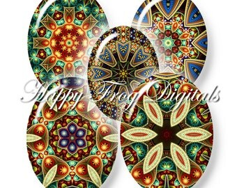 Kaleidoscope - 30x40, 18x25 and 13x18 mm ovals - Digital Collage Sheet - 385 HFD - Printable Download - Instant Download