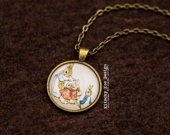 FREE SHIPPING - Peter Rabbit Glass Pendant Necklace - jewellery - jewelry - Beatrix Potter - Jemima Puddleduck - Book necklace -