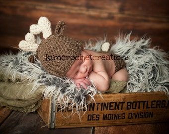 Crochet DEER Antler Hat, baby boy, baby girl hat, Diaper cover set, Photo Props, Baby Shower Gift, Preemie, Newborn to 6 months