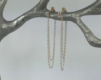 Gold Chain Earrings, Looped Chain Earrings, Long Stud Earrings, Long Gold Earrings, Simple Gold Earrings, Drop Earrings