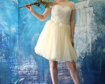 Short Knee Length Champagne Lace Wedding Dress with Cap Sleeves. Bodice Adorned with Beading - AM1982985