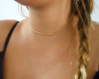 Gold Choker, Minimal Gold Filled Necklace, Gold Beads Necklace, Thin Gold Choker, Layered Gold Collar, Layering Gold Beads Necklace, #207