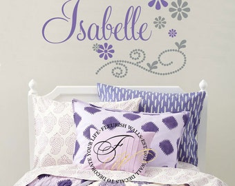 Personalized Name Wall Decal With Dahlia Flowers Girls Name - Custom vinyl wall decals flowers