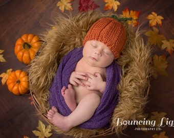 Pumpkin Newborn Hat • Pumpkin Baby Hat • Thanksgiving Baby Hat • Pumpkin Infant Hat • Baby's 1st Thanksgiving • Baby Shower Gift
