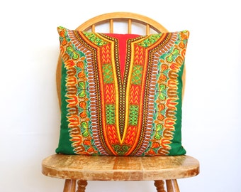African Pillow Cover - Throw Pillow Cover - Dashiki Print Pillow - Cushion Covers - Green Pillow Cover - Accent Pillow Cover