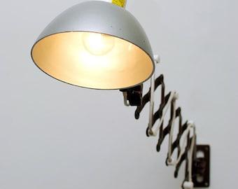 "Industrial vintage  lamp to fix  :""Accordeon chocolat""."