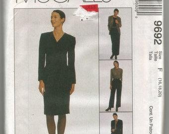 UNCUT 9692 McCalls Sewing Pattern Lined Jacket Top Pants Skirt Size 12 14 16 34B 36B 38B Factory Folded