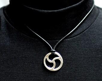 New Design, Triskele-Triskelion Discreet BDSM Symbol, Cutaway, Large 25mm Sterling Silver Bdsm Symbol, Handmade BDSM Collar
