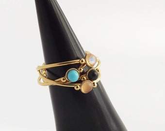 Ring semiprecious stone with 24 k gold plated nebulae
