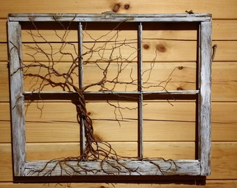 Customize Your Own Tree of Life Sculpture in Vintage, Antiqued Window, Rustic, Boho, Celtic, Traditional Style.