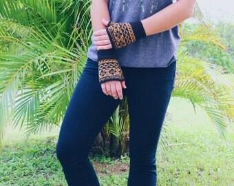 Yellow Fair Isle Fingerless Gloves //traditional, hand knit, women, hand warmers, striped, black//