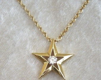 18K Yellow Gold Diamond Star Necklace