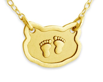 Baby Foot Prints Pendant Necklace #14k Gold Plated over 925 Sterling Silver #Azaggi N0277G