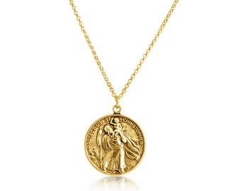 Gold st christopher etsy st christopher protector of travelers medallion pendant necklace 14k gold plated over 925 sterling aloadofball Gallery