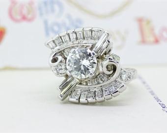 SALE Platinum Engagement Ring | Retro Cocktail Ring | Mid Century 1.25 Ct Diamond Engagement Ring | 2.50 CTW Statement Ring | Size 5.25