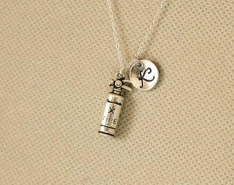 personalized initial necklace. fire extinguishe letter jewelry.firefighter necklace. gift for firefighter. sterling silvr necklace. No.118