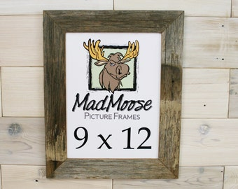 "9x12 Barn Wood [Thin x 2""]  Picture Frame... (aka Rustic Weathered Wood Picture Frame, Mad Moose Reclaimed Wood Frame, Gray Wood Frame)"