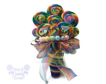 Rainbow Lollipop Wedding Bouquet, Rainbow Bouquet, Rainbow Wedding Bouquet, Rainbow Bridal Bouquet, Edible Weddings, Rainbow Candy Bouquet