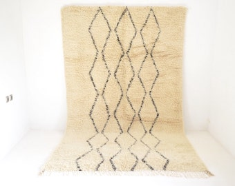 "Vintage BENI OURAIN 10'4"" x 6'5"" <> Moroccan Rug Lozenge Tasseled Contemporary Modern Mid Century LIoyd Wright Le Corbusier Eames"