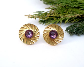 Gold cufflinks lavender purple crystal jewelry/for/men 20th anniversary gifts/for/men 6th anniversary gift/for/him father/of/the/groom gift