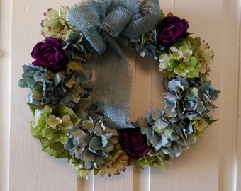 Front Door Spring Wreath, Summer Wreath, Hydrangea Wreath, Front Door Wreath, Front Door Decoration, Floral Wreath,Gift,Easter, Mother's Day