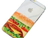 Cheeseburger Phone Case Hamburger Clear Henna Style iPhone 6, SE, 6 Plus, 6S, 5, 5C, 5S, Galaxy S6, S7, Note 4, Note 5