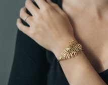 Sword Fern Bracelet- Botanical Cuff in Brass, Bronze, or Sterling Silver