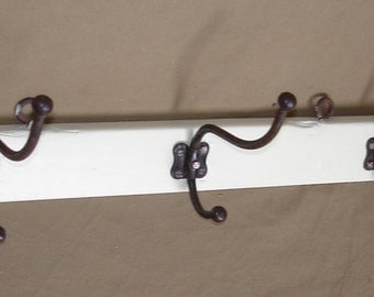 Vintage Coat Rack, 3 iron hooks on cottage white frame, 20s 30s Art Nouveau Germany