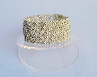 Silver BraceletChristmas Gift Metallic Wide Cuff Bracelet Chic Fashion Trendy Modern Jewelry Handmade Jewelry  OOAK Ready-to-go