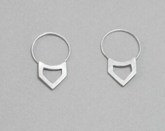 Open triangle earrings, geometrical hoop earrings, sterling silver, minimal design, everyday jewellery