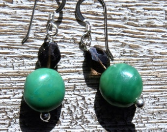 GREEN TURQUOISE & smoky quartz EARRINGS. S.S.  Bright/ southwestern/ Colorado/ rustic /Boho/Natural/ organic/ everyday/ casual/