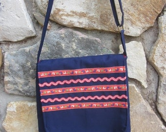 Purse, Handmade Cross Body Bag, Navy Blue with Vintage Flowered Trims, Handmade Ladies Purse Adjustable Strap Red Lining