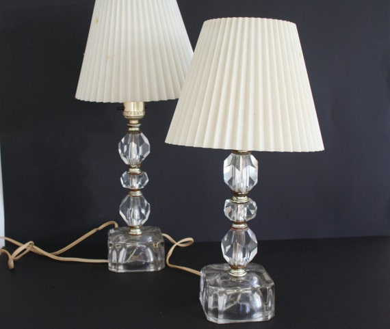 Crystal Glass Boudoir Lamps Set Of 2 Bedroom Table Lamps