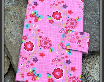 Flowers & Butterflies on Pink and White Diaper Wallet