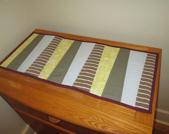 Upcycled Table Runner Stripes from repurposed clothing
